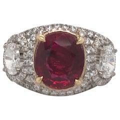 GRS Certified Oval Pigeon Blood Ruby Diamond Ring