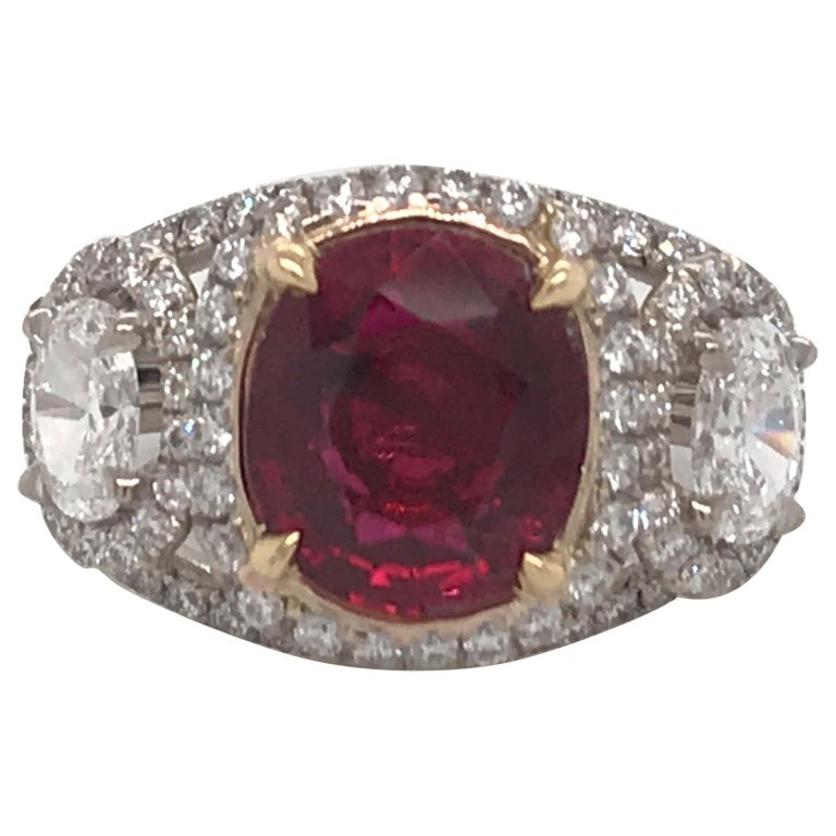 GRS Certified Oval Pigeon Blood Ruby Diamond Ring For Sale
