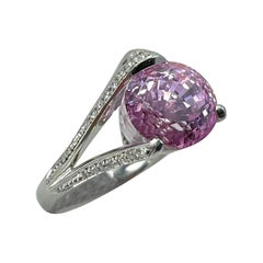 GRS Certified Over 10 Carats Pink Sapphire & Diamond Platinum Cocktail Ring