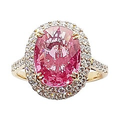 GRS Certified 4 Cts Padparadscha Sapphire with Diamond Ring Set 18k Rose Gold