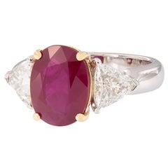 "GRS Certified ""Pigeon Blood"" Burma Ruby & Diamond 18 Karat Gold Three-Stone Ring"