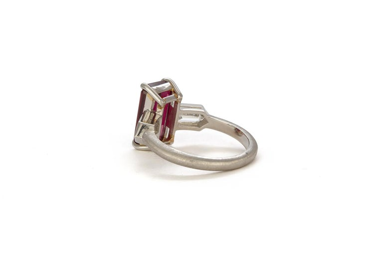 Emerald Cut GRS Certified Platinum Pigeon Blood Ruby and Diamond Ring 4.00 Carat For Sale