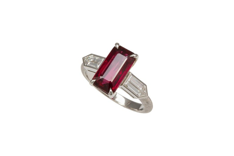Women's GRS Certified Platinum Pigeon Blood Ruby and Diamond Ring 4.00 Carat For Sale