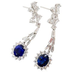 GRS Certified Royal Blue Sapphire 3.26 & 3.17 Cts Rose Cut Diamond Drop Earrings