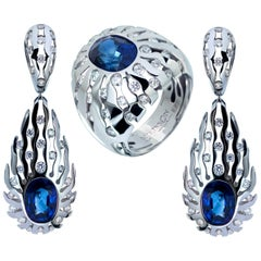 GRS Certified Royal Blue Sapphires Diamonds 18 Karat White Gold Suite