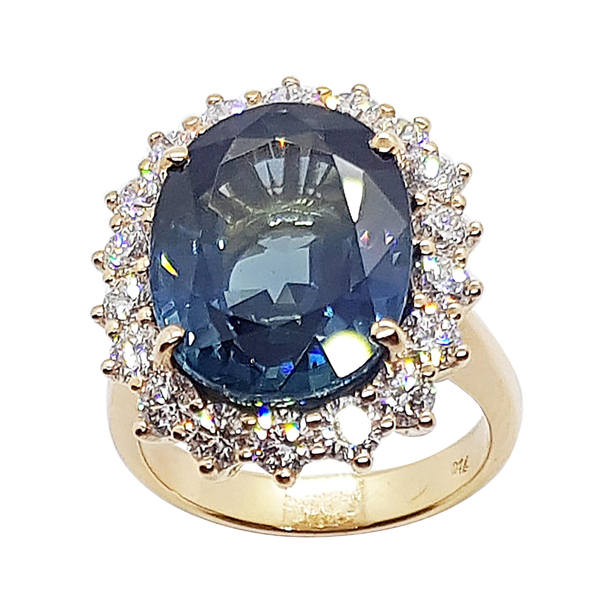 GRS Certified Unheated 13 Cts Blue Sapphire & Diamond Ring in 18 Karat Rose Gold