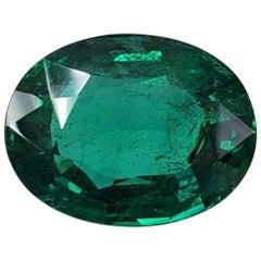 Takat 34.71 Cts GRS Certified Vivd Green Oval Shape Zambian Emerald