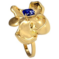 GRS Certified Vivid No Heat Blue Sapphire Contemporary Ring in 18 Karat Gold