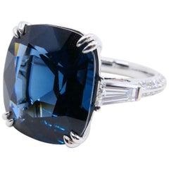 GRS & GFCO Certified 10.10 Carat Cobalt Blue Spinel Vietnam and Diamond Ring