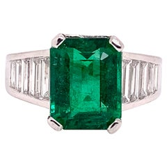 GRS Insignificant Oiled Emerald Diamond Platinum Cocktail Ring