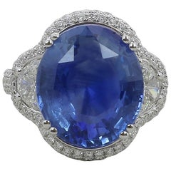 12.47 Carat Blue Sapphire Cocktail Ring Round/Half Moon Diamonds 18K White Gold