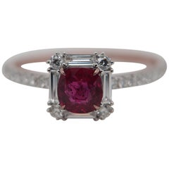 GRS Pigeon Blood 0.73 Carat Burmese No Heat Ruby and Diamond Ring 18 Karat Gold