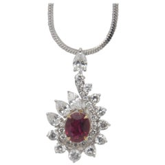 GRS Pigeon Blood 0.74 Carat Burmese No Heat Ruby and Diamond Pendant 18k Gold
