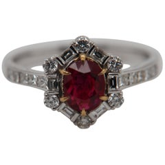 GRS Pigeon Blood 1.02 Carat Burmese No Heat Ruby and Diamond Ring in 18K Gold