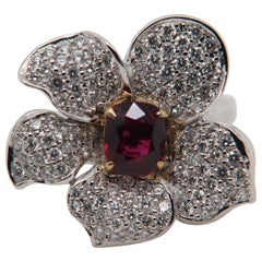 GRS Pigeon Blood 1.13 Carat Burmese No Heat Ruby and Diamond Ring 18 Karat Gold