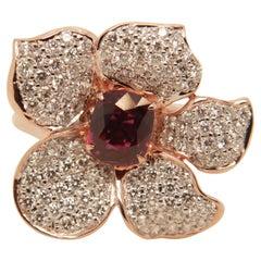 GRS Pigeon Blood 1.13 Carat Burmese No Heat Ruby and Diamond Ring 18 Karat Gold