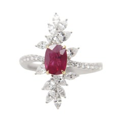 GRS Pigeon Blood 1.13 Carat Burmese No Heat Ruby and Diamond Ring in 18k Gold
