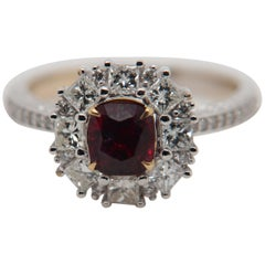 GRS Pigeon Blood 1.29 Carat Burmese No Heat Ruby and Diamond Ring 18 Karat Gold