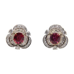 GRS Pigeon Blood 1.54 Carat Burmese No Heat Ruby and Diamond Earring 18k Gold
