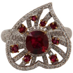 GRS Pigeon Blood 1.70 Carat Burmese No Heat Ruby and Diamond Ring in 18K Gold