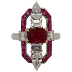 GRS Pigeon Blood 1.71 Carat Burmese No Heat Ruby and Diamond Ring in 18K Gold
