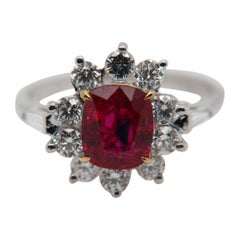 GRS Pigeon Blood 2.02 Carat Burmese No Heat Ruby and Diamond Ring 18 Karat Gold