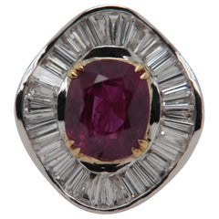 GRS Pigeon Blood 3.04 Carat Burmese No Heat Ruby and Diamond Ring 18 Karat Gold