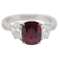 GRS Pigeon Blood 3.06 Carat Burmese No Heat Ruby and Diamond Ring in 18K Gold