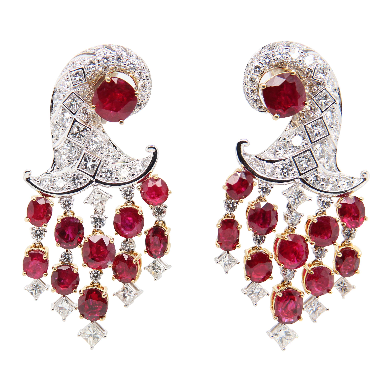 GRS Pigeon's Blood 12.14 Carat Burmese Unheated Ruby and Diamond Earring