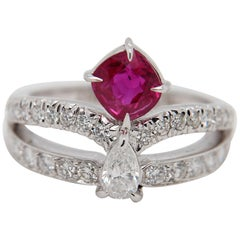 GRS Pigeon's Blood 1.26 Carat Burmese Unheated Ruby And Diamond Ring