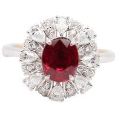 GRS Pigeon's Blood 1.48 Carat Burmese Unheated Ruby and Diamond Ring