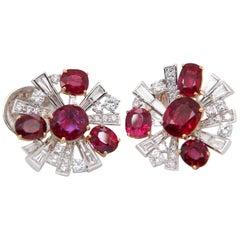 GRS Pigeon's Blood 6.38 Carat Burmese Unheated Ruby and Diamond Earring