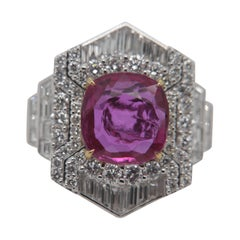 GRS Red 4.23 Carat Burmese No Heat Ruby and Diamond Ring in 18K Gold