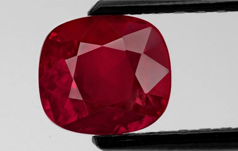Cushion Cut GRS Switzerland 2.37 Carats Peagon's Blood Burma Ruby Platinum Ring For Sale
