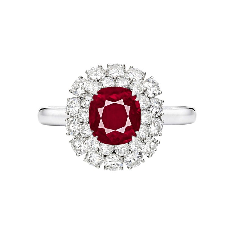 GRS Switzerland 2.37 Carats Peagon's Blood Burma Ruby Platinum Ring For Sale