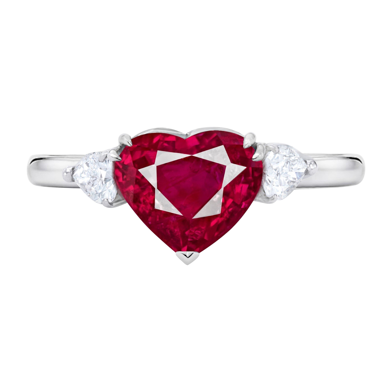 GRS Switzerland 2.50 Carat Heart Shape Fiery Vivid Pink Ruby Pear Diamond Ring