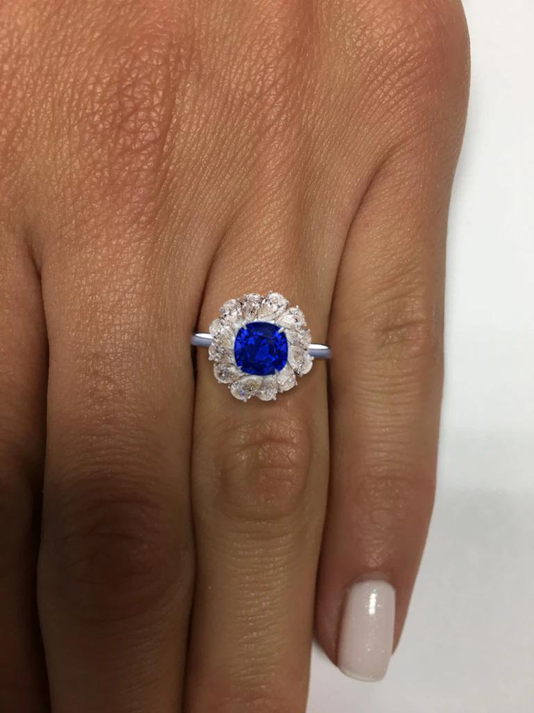 GRS SWITZERLAND 3.50 Carats Vivid Royal Blue Sapphire Pear Cut Cocktail Ring   the main stone is an incredible vivid blue sapphire with VS1 clarity!! something very rare to find in unheated sapphires with this incredible color  the side diamonds are
