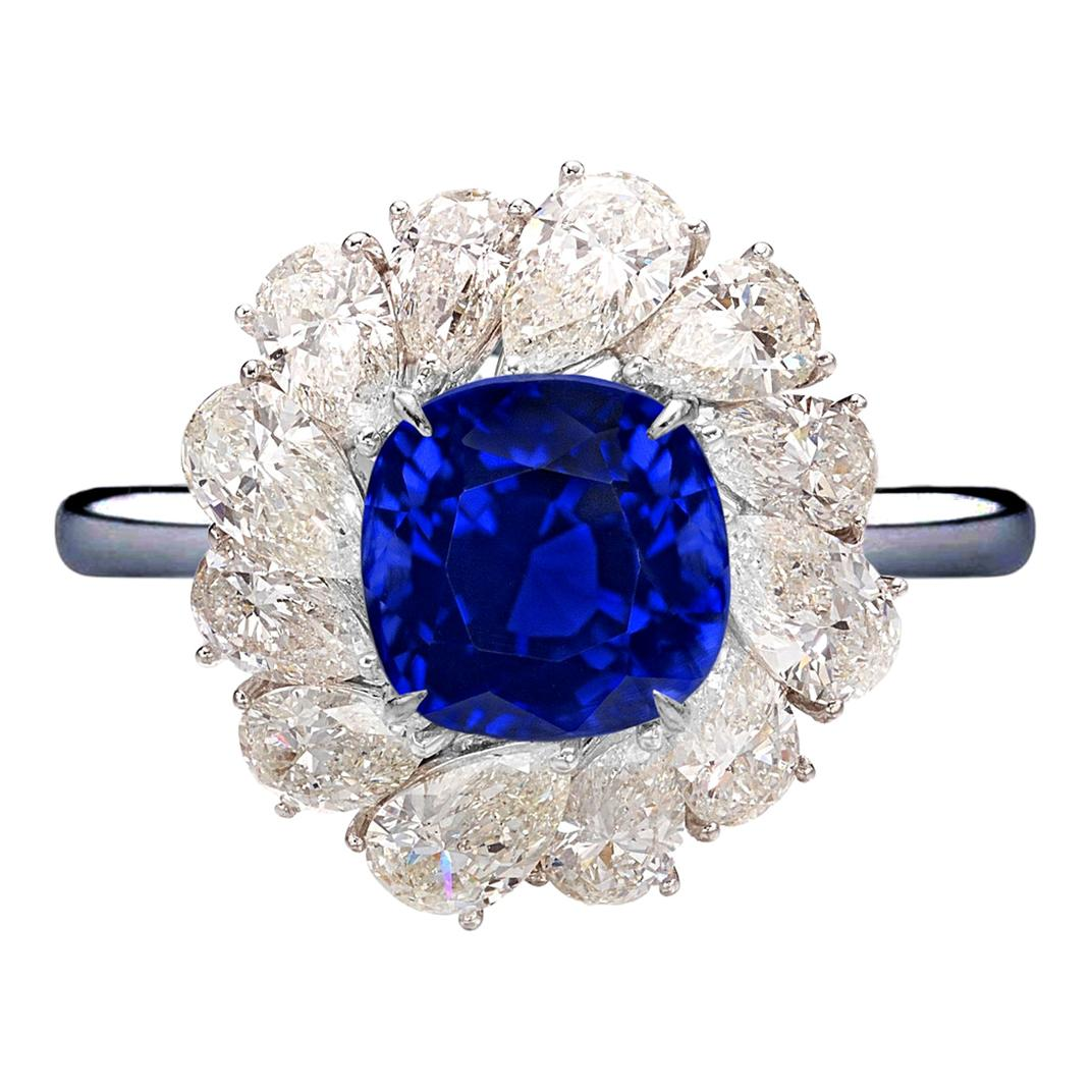 GRS Switzerland 3.50 Carats Vivid Royal Blue Sapphire Pear Cut Cocktail Ring