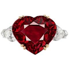 GRS Switzerland 5.80 Carat Heart-Cut Pigeon Blood Ruby Diamond Ring VVS1 Clarity
