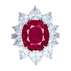 5.76 Carat Burma Oval Ruby No Heat Marquise Diamond Ring