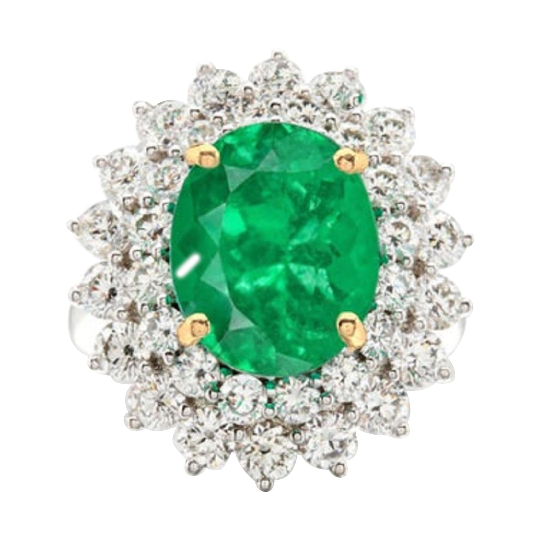 GRS Switzerland 5.80 Carat Colombian Emerald Diamond Cocktail Ring