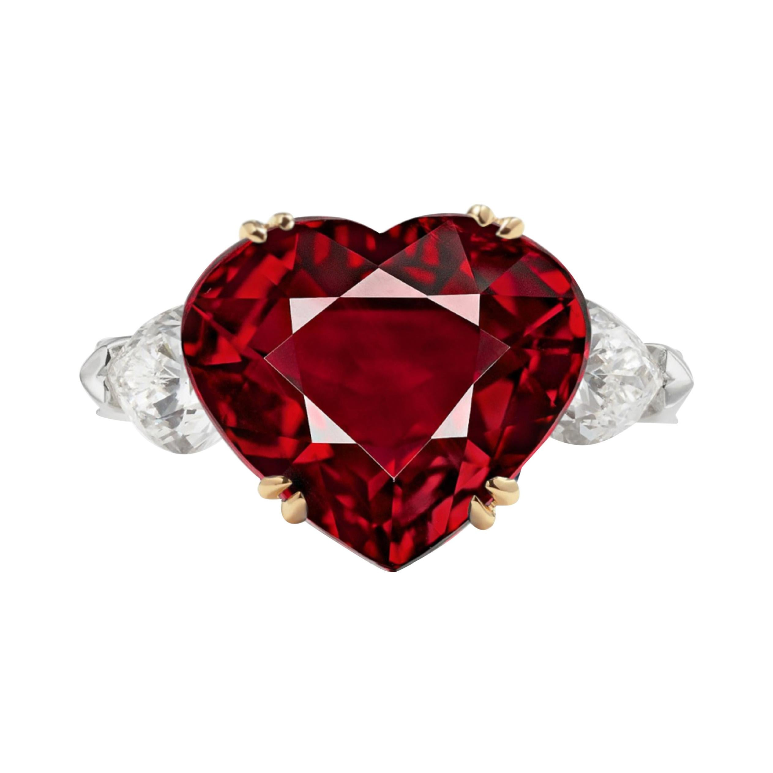 FLAWLESS GRS Switzerland 5.80 Carat Heart-Cut Pigeon Blood Ruby Diamond Ring