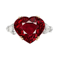 GRS Switzerland 5.80 Carat Heart-Cut Pigeon Blood Ruby Diamond Ring VVS1 Clarity