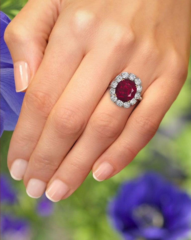 Modern GRS Switzerland 6 Carat Vivid Peagon's Blood Purple Red Oval Ruby Diamond Ring For Sale