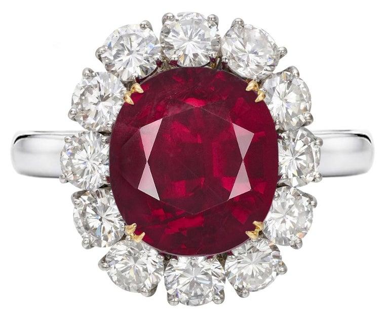 Oval Cut GRS Switzerland 6 Carat Vivid Peagon's Blood Purple Red Oval Ruby Diamond Ring For Sale