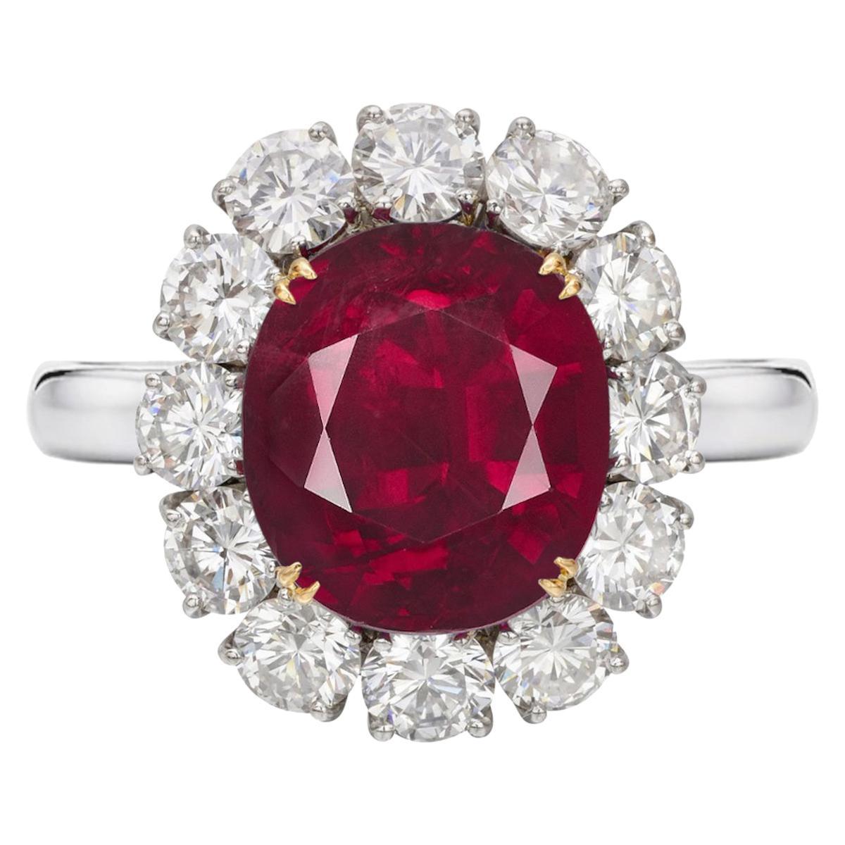 GRS Switzerland 6 Carat Vivid Peagon's Blood Purple Red Oval Ruby Diamond Ring