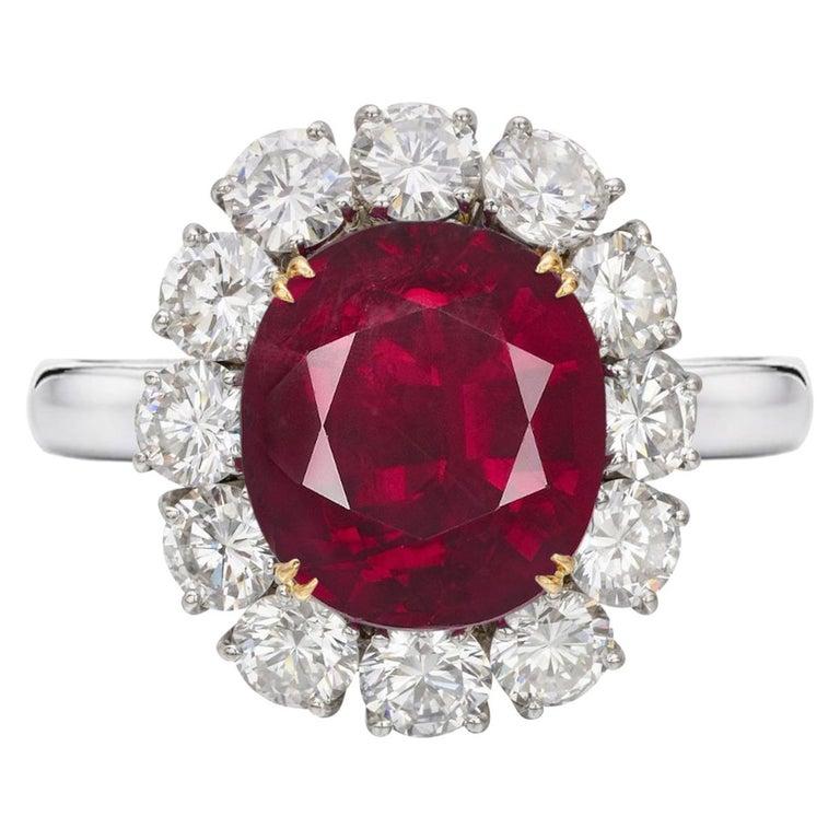 GRS Switzerland 6 Carat Vivid Peagon's Blood Purple Red Oval Ruby Diamond Ring For Sale