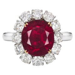 GRS Switzerland 6 Carat Vivid Peagon's Blood Purple Red Oval Ruby Diamond Ring