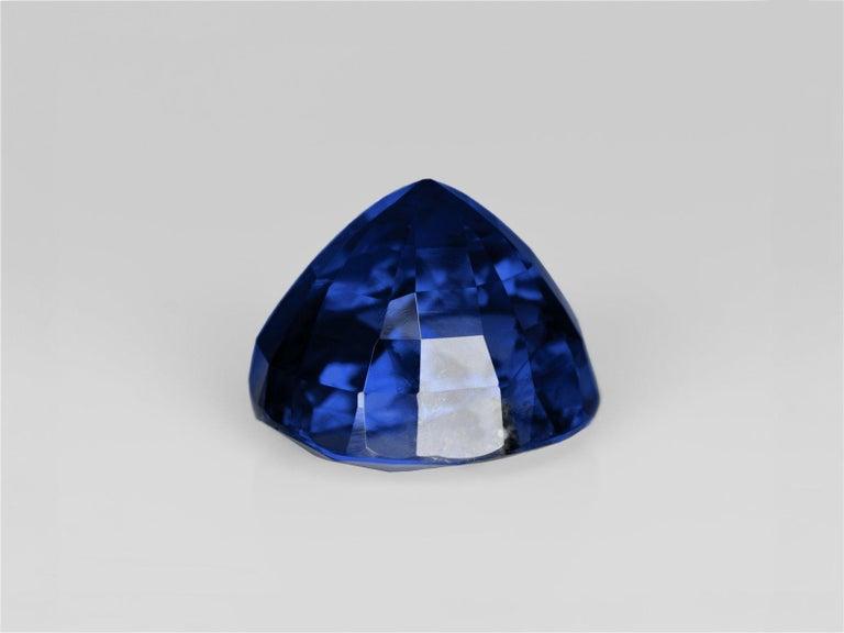 Modern GRS Switzerland 6.33 Carat Vivid Royal Blue Oval Blue Sapphire Diamond Ring For Sale