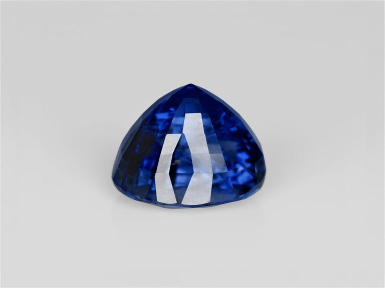 Oval Cut GRS Switzerland 6.33 Carat Vivid Royal Blue Oval Blue Sapphire Diamond Ring For Sale